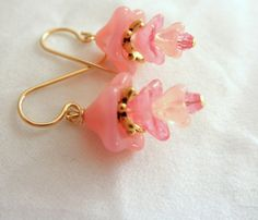Hues of Pink Dainty Earrings Bell Flower Beads Earrings.Gold Plated Earrings Feminine Pink Earrings Birthday Gift
