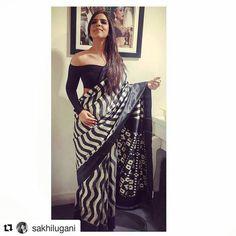 #ashagautam #handloom #ikkat #black #white #stripes #sari #saree #offshoulder #blouse #patola #pallu #patan