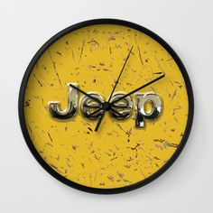 muddy yellow Jeep with chrome typograph Wall Clock @society6 #wallclock  #jeep #landrover #logo #car #offroad #wrangler #toyota