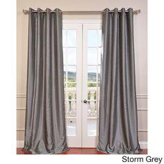 Exclusive Fabrics Textured Dupioni Faux Silk Grommet 84-inch Blackout Grommet Curtain Panel