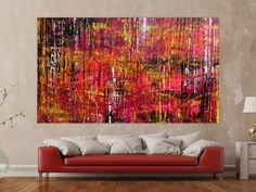 Contemporary Abstract Art, Vintage Posters, Pink, Tapestry, Painting, Home Decor, Group, Wall Art, Detail