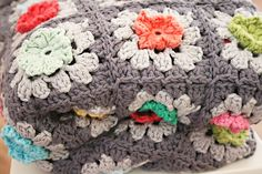 Bobble Flower Granny Square Blanket pattern by Revlie Schuit
