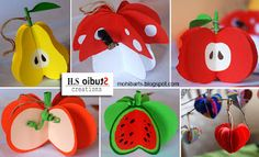 Hold on to summer a bit longer with these adorable and tasty Fruit Crafts and Treats. Paper Crafts For Kids, Craft Activities For Kids, Preschool Crafts, Diy Paper, Diy For Kids, Arts And Crafts, Paper Fruit, Fruit Crafts, Origami