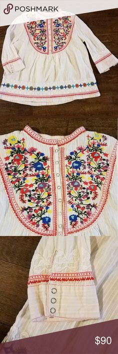 3J workshop johnny was embroidered blouse Beautiful !!!! Only flaw is some very light colored staining on one sleeve that I wasn't even able to capture in photos! Johnny Was Tops Blouses
