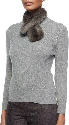 Carolina Herrera Ribbed Knit Sweater w/ Removable Fur Collar