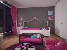 Habitación Temática Monster High utilizando como base en su decoración el color gris oxford y el blanco, con acentos en rosa, negro y turquesa.