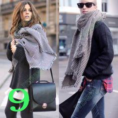 Blanket Oversized Zara Tartan Scarf Plaid Checked Wrap Shawl Bloggers Favourite | eBay