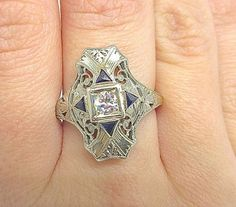 18K White Gold Art Deco filigree diamond Ring with by Appelblom