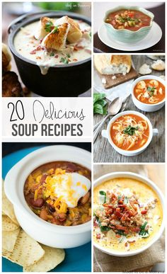 These 20 delicious soup recipes are just what you need to satisfy any hungry belly!  Pair any soup with either salad or bread and you have a great meal!