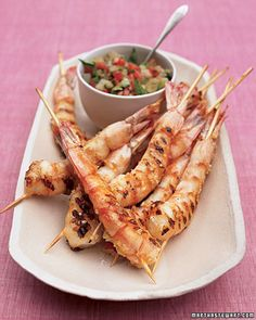 Graduation party guests will keep coming back for more of this skewered grilled shrimp paired with a green-tomato relish.