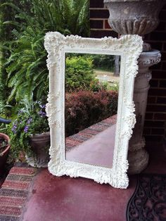 Vintage Shabby Chic Mirror with Baroque by primitivepincushion