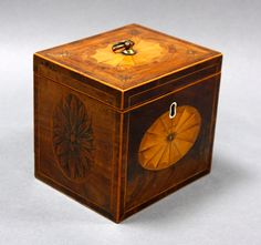 An exceptional quality George III inlaid mahogany tea caddy | Michael Scott Antiques