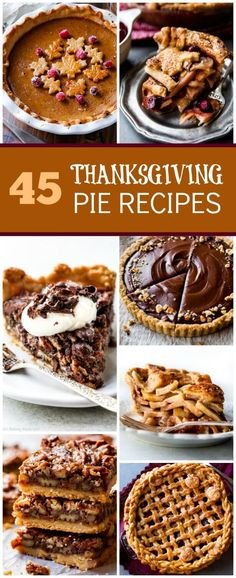 45 Thanksgiving pie recipes including apple pie, pumpkin pie, sweet potato pie, pecan pie bars, pumpkin bars, blueberry pie, deep dish apple pie, and more! sallysbakingaddiction.com