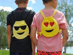 I started teaching creative sewing with our school district this past year through the summer/after school programs. Sewing with kids b. Emoji Backpack, Diy Backpack, Emoji Craft, Trash To Couture, First Sewing Projects, Fashion Background, School Programs, Creative Teaching, Diy Crafts For Kids