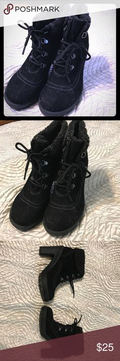 Black boots with fur trim These are really cute boots that I just haven't worn much. Shoes Over the Knee Boots