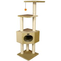 "New Cat Condos 46"" Large Pagoda Cat Tree - Overstock™ Shopping - The Best Prices on New Cat Condos Cat Furniture"