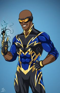 Raio Negro commission by phil-cho on DeviantArt Marvel Dc Comics, Dc Comics Art, Marvel Art, Superhero Characters, Dc Comics Characters, Black Lightning Static Shock, Power Rangers, Comic Character, Character Design