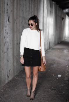Emma's Style Guide | A Fashion Blog By Emma Honohan: Romantic Blooms. White wool sweater+black skirt+taupe ankle boots+camel bucket shoulder bag+gold necklace+sunglasses. Fall Casual Outfit 2016