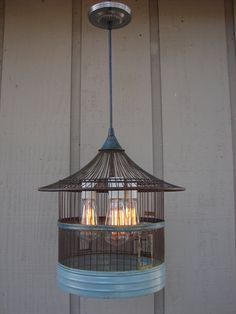 Rustic Pendant Light Upcycled Vintage Bird Cage by BenclifDesigns, $310.00
