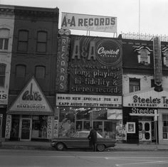 A & A Records, east side of Yonge Street, between Gould and Gerrard Streets. Bob 'O's Hamburgers & Arcade, Steele's Tavern also visible in photo frame. - Image c/o Toronto Public Library. Toronto Ontario Canada, Toronto City, Toronto Travel, Old Pictures, Old Photos, Vintage Photos, Scarborough Toronto, Yonge Street, Canada Eh