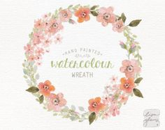 Watercolor wreath: hand painted floral wreath от LisaGlanzGraphics
