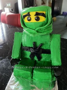 Green Ninjago Lego Figure Birthday Cake... This website is the Pinterest of birthday cake ideas