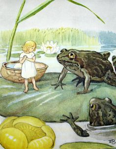 Thumbelina Andersen's Fairy Tales, Fairy Land, Baby Movie, Elsa Beskow, Frog Art, Children's Book Illustration, Book Illustrations, Water Lilies, Conte