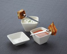 Square Porcelain Cups: Single servings look simply smashing in these little porcelain cups.