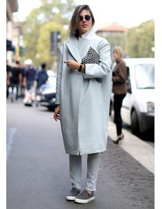 Street Style: Oversized coat, slip-ons and vintage sunglasses spotted at Paris Fashion Week, Spring 2014.