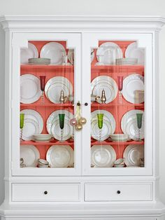 A Perfect Place for Pink - Fun New Decorating Ideas on HGTV I like the color in the back of the cupboard