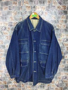 KANSAI YAMAMOTO Casual Jacket Black Vintage 90s Frenchwork Denim Jeans Jacket Casual Field Jacket Zipper Buttons