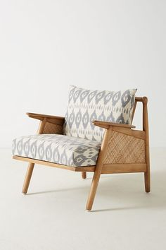 Slide View: 2: Washed Ikat Cane Chair
