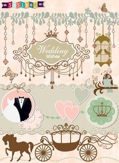 Bride & Groom Wedding Decor Design Element by SasiyaDesigns, $5.00