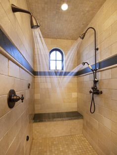 Bathroom Remodeling Must-Haves -- Walk-In Shower with multiple shower heads and built-in bench