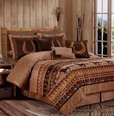 7pc Southwestern Wild Horses Microsuede Bedding Comforter Set