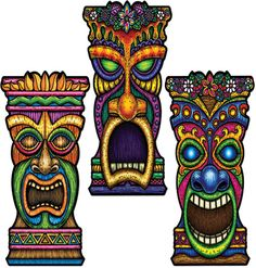 DollarDays.com: Luau Tiki Cutouts Printed on 2 Sides - 22""