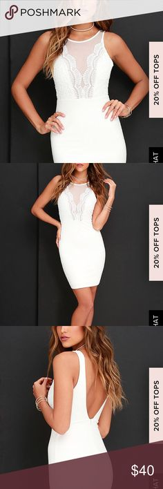 Coquina White Lace Bodycon Dress Brand new, never worn! Lulu's Dresses