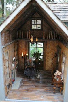 OOAK Witches Cottage - Casa de muñecas a escala / Miniature Rooms, Miniature Houses, Miniature Furniture, Doll Furniture, Dollhouse Furniture, Dollhouse Interiors, Haunted Dollhouse, Diy Dollhouse, Dollhouse Miniatures