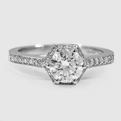 Platinum Dahlia Diamond Ring // Set with a 0.9 Carat, Round, Super Ideal Cut, G Color, VS2 Clarity Diamond #BrilliantEarth