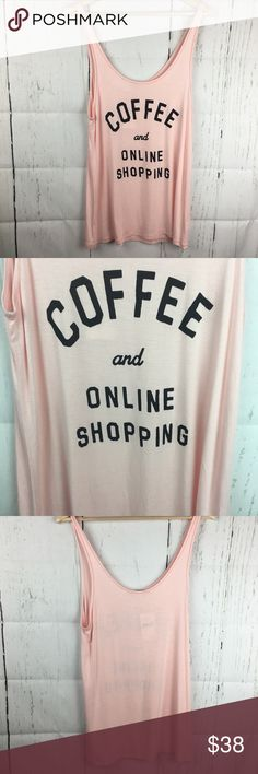 Junk Food Online Shopping and Coffee Tank Top Sz L This tank top is so super cute and brand new with tags! Wear it for pjs or for a cozy day! Junk Food Tops Tank Tops