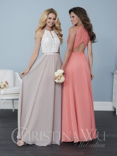 Christina Wu Celebration 22763 is a sleeveless lace top bridesmaid gown  with a high neckline and a thin slit that travels down the front of the  bust to the ... 32f8ca8eb1bb
