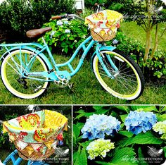 Bicycle basket liner - Blue Sky confections on Etsy