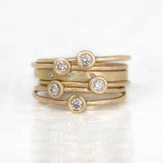 Champagne Diamond Stacking Ring Set of 6 in by MelanieCaseyJewelry