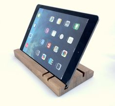 iPad stand/organizer  walnut by WoodAndGadget on Etsy