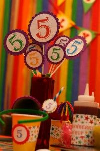 Rainbow Birthday Party Centerpiece