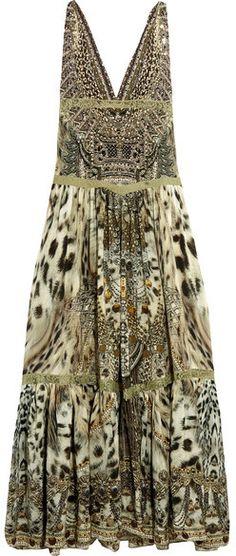 Camilla Espiritu Lace-trimmed Printed Silk Maxi Dress