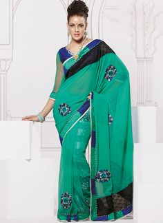 $41 #Exotic #Turquoise #Georgette #Net #Saree