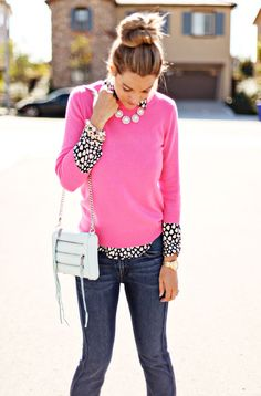 A Little Dash of Darling: pink sweater; black and white hearts blouse