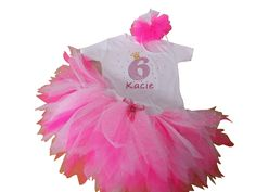 Neon Pink Tutu Skirt Minnie Mouse Diamante Baby Grow Set Headband Pirate Skulls