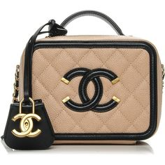 9a563d8cd94200 CHANEL Caviar Quilted Small CC Filigree Vanity Case Beige Black ❤ liked on  Polyvore featuring bags